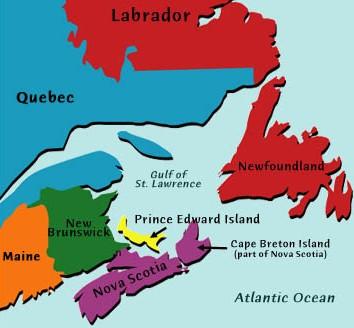 Map of Atlantic Canada